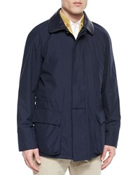 Loro Piana Windstorm Jacket With Cape Back Blue