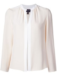Derek Lam Pleated Placket Blouse Nude And Neutrals
