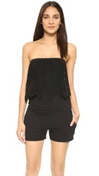 Pam And Gela Strapless Romper With Lace Black