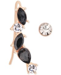 T Tahari Rose Gold Tone Jet And Clear Crystal Ear Climbers And Stud Earrings