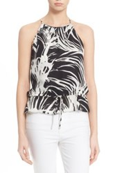 Parker Palm Print Silk Tank Black