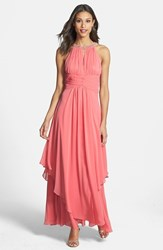 Women's Eliza J Embellished Tiered Chiffon Halter Gown Coral