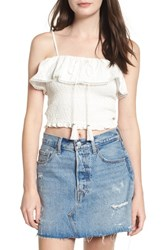 Lost Wander 'S Coco Off The Shoulder Ruffle Smocked Top White