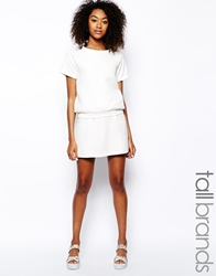 Girls On Film Tall Quilted Panel Mini Skater Skirt White
