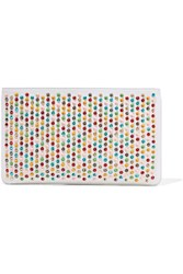 Christian Louboutin Loubiposh Spiked Textured Leather Clutch White