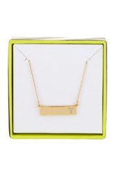 Baublebar 14K Gold Plated Ice 'Y' Initial Bar Pendant Necklace Metallic