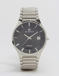 Accurist Silver Bracelet Watch With Black Dial Silver