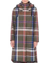 Akris Punto Long Plaid Cotton Parka Coat Green Pattern