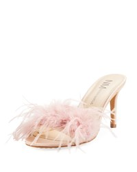 Neiman Marcus Vanity Slide Feather Mule Blush