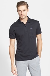 Faconnable Club Fit Short Sleeve Polo Black