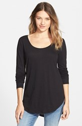 Junior Women's Bp. Scoop Neck Long Sleeve Tee Black