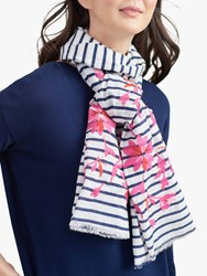 Joules Flora Stripe And Floral Embroidery Cotton Scarf Cream Multi