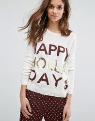 Noisy May Kick Backs Christmas Knitted Jumper White