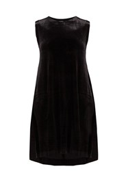 Norma Kamali Sleeveless Stretch Velvet Midi Dress Black
