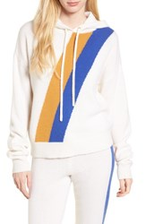 Juicy Couture Stripe Cashmere Hoodie Pure White Blue Chip Vintage