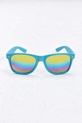 Urban Outfitters Rainbow Flash Square Sunglasses Turquoise