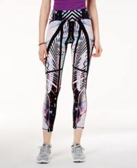Material Girl Active Juniors' Palm Printed Yoga Leggings Created For Macy's Pink Palm
