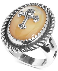 American West Mother Of Pearl Doublet Cross Ring In Sterling Silver