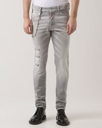 Dsquared Light Grey Cool Guy Destroy Jeans With Chain