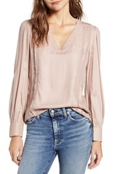 Hinge Lace Stripe V Neck Blouse Pink Adobe