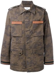 Fashion Clinic Timeless Embroidered Trim Field Jacket Green