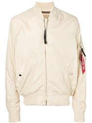 Alpha Industries Zipped Bomber Jacket Nude And Neutrals