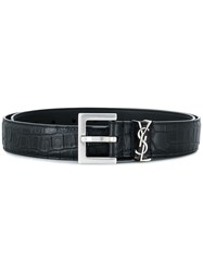 Saint Laurent Croco Embossed Monogram Belt Black