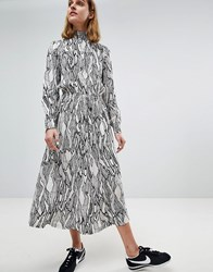 Moss Copenhagen High Neck Midi Dress In Abstract Leaf Print White