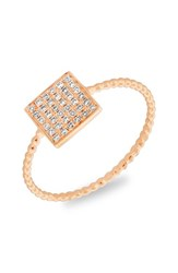 Women's Bony Levy Diamond Pave Square Ring Rose Gold