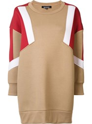 Neil Barrett Colour Block Sweatshirt Nude Neutrals