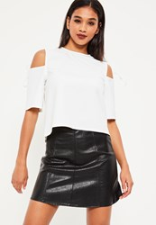 Missguided White Tie Shoulder Short Sleeve Blouse