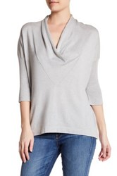 Cullen Easy Drape Cowl Neck Silk Blend Pullover Gray