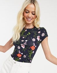 Ted Baker Jinene Fitted T Shirt In Hedgerow Print Navy