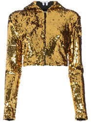 Faith Connexion Embellished Cropped Hoodie Metallic