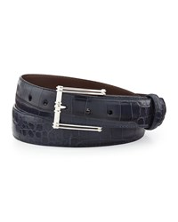 W.Kleinberg Matte Alligator Belt With 'The Chair' Buckle Chocolate Made To Order Navy
