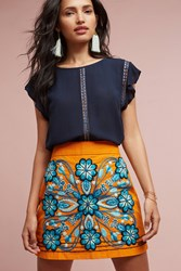 Anthropologie Monique Embroidered Mini Skirt Orange