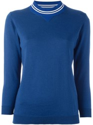 Golden Goose Deluxe Brand Striped Collar Jumper Blue