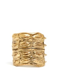 Saint Laurent Opyum Crocodile Effect Cuff Gold