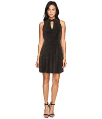 Jessica Simpson Lurex Gliter Dress With Mock Neck Black Gold