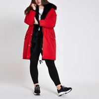 River Island Plus Red Faux Fur Hooded Parka