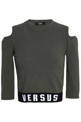 Versus By Versace Cold Shoulder Intarsia Stretch Knit Top Army Green