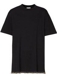 Burberry Ring Pierced Cotton Oversized T Shirt Black