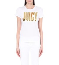 Juicy Couture Sequin Embellished Cotton Jersey T Shirt White