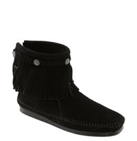 Women's Minnetonka Back Zip Ankle Boot Black