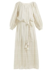 Mes Demoiselles Offrande Gathered Detailed Cotton Dress Ivory