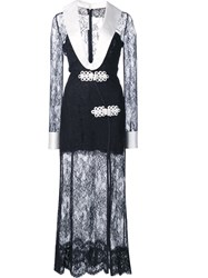 Alessandra Rich Plunge Lace Dress Black