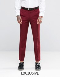 Farah Bright Heron Twill Suit Trousers Burgundy Red