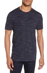 Calibrate Space Dyed One Button Henley T Shirt Navy Night Spacedye