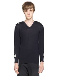 Lords And Fools Military Merino Wool V Neck Sweater