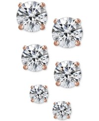 Giani Bernini 3 Pc. Cubic Zirconia Stud Earrings In 18K Rose Gold Plated Sterling Silver Only At Macy's